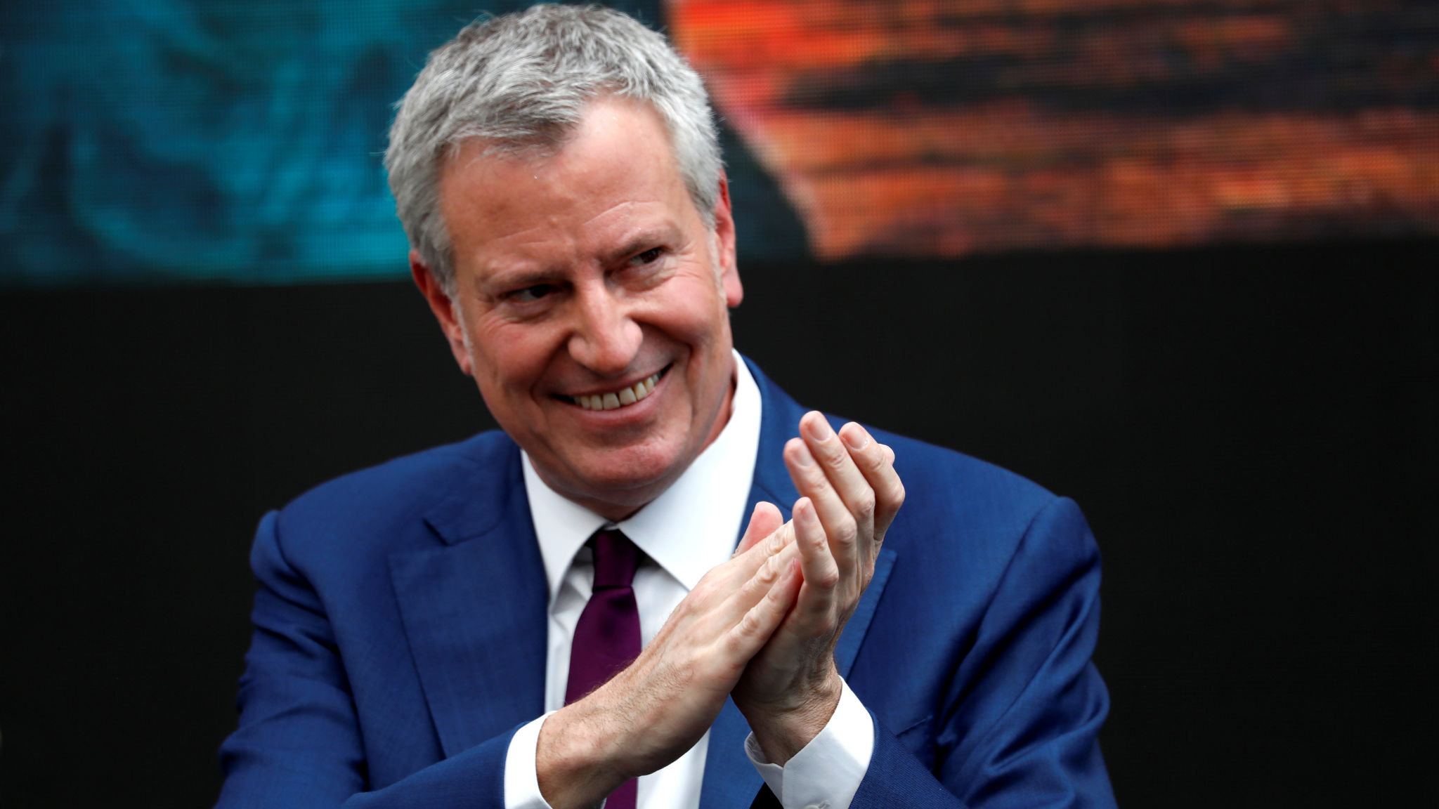 New York City Mayor and Democratic Presidential candidate Bill de Blasio attends the dedication of the new Statue of Liberty Museum on Liberty Island in New York Harbor, U.S., May 16, 2019. REUTERS/Mike Segar